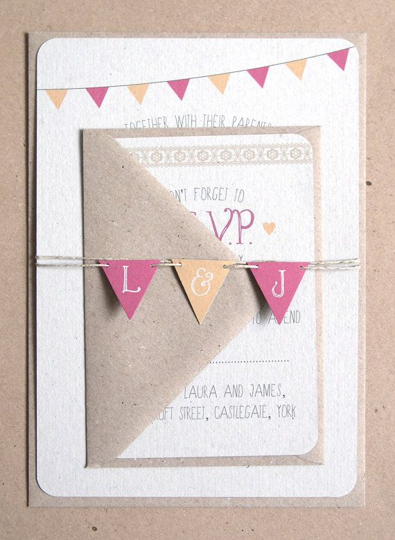 Summer Fair  Cute Bunting Wedding Invitation by STNstationery, £2.00
