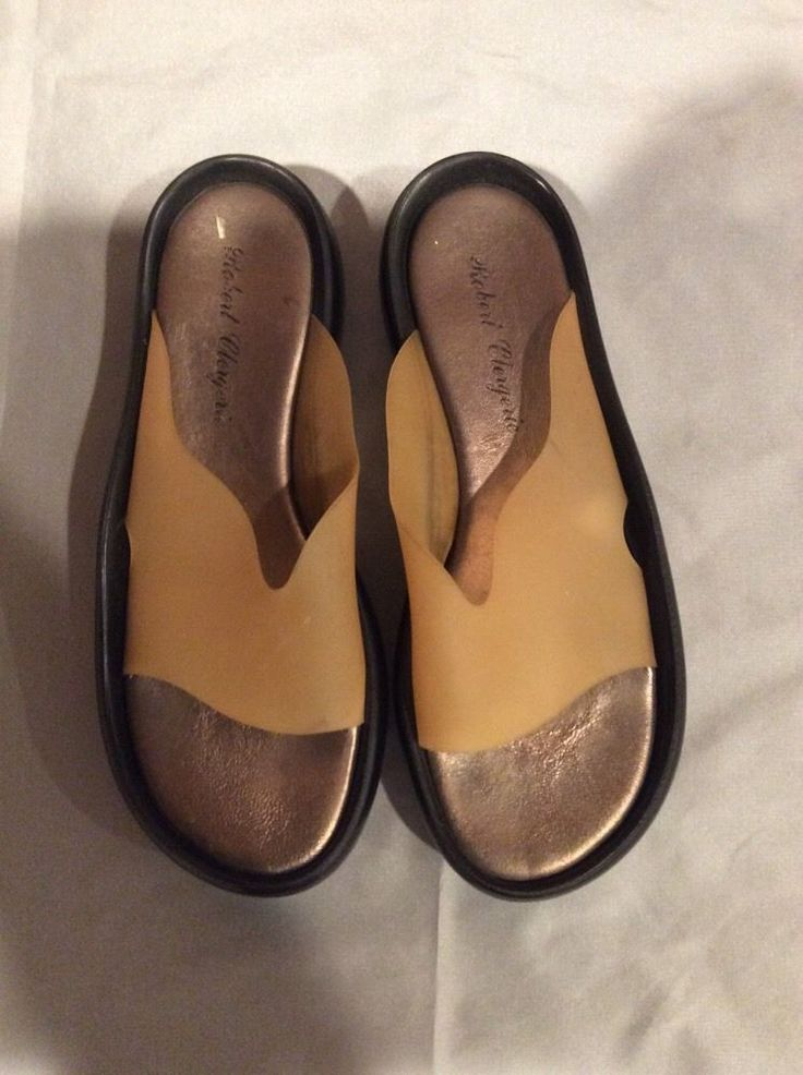 Robert Clergerie slip on shoes nude plastic with black wedge size 6  #RobertClergerie #PlatformsWedges