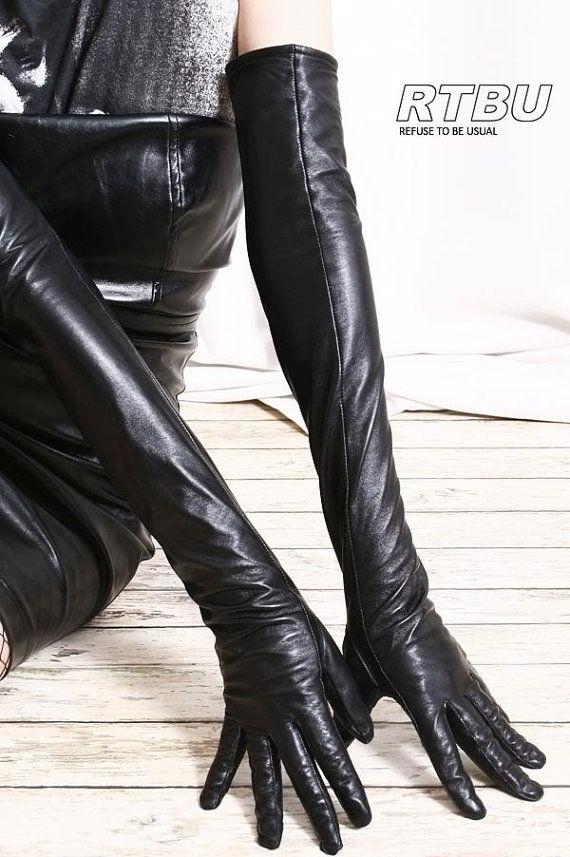 60cm Full Sleeve Under Arm Genuine Leather Runway Fashion Noir