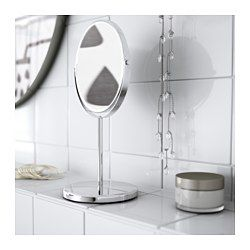 One side with magnifying mirror. Suitable for use in high humidity areas since it is water-resistant.