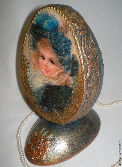 """Яйцо интерьерное """" Девочка"""" - морская волна,яйцо,яйцо деревянное,яйцо пасхальное"""