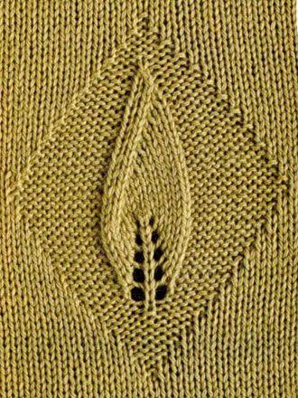 Single Leaf in a Diamond Lace Panel – knitting stitch chart.