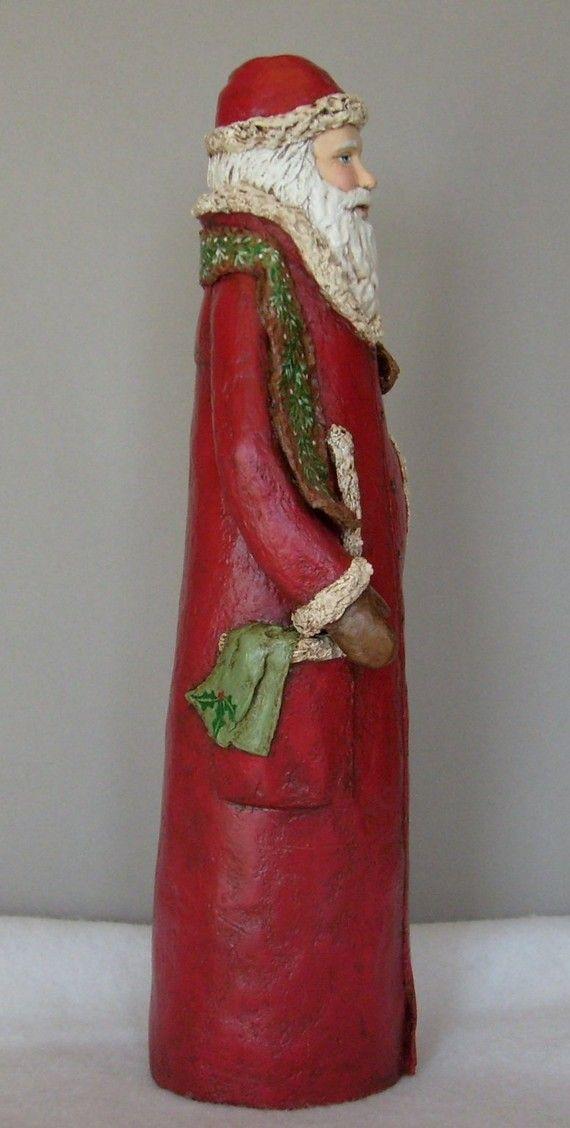 Tall OOAK Santa Art Doll paper mache by offmyrockermaggie on Etsy