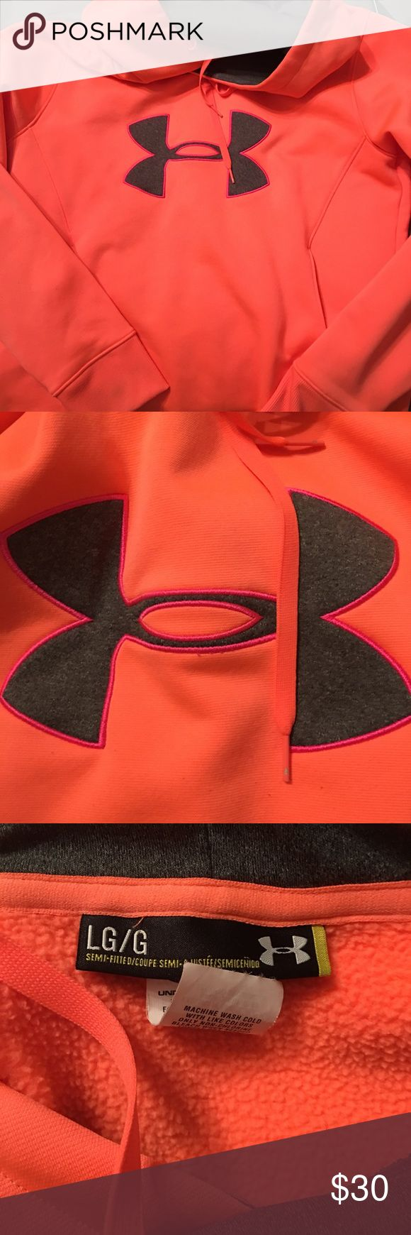 Under Armour hoodie Super cute Under Armour hoodies. Bright coral color with gray accents. Excellent condition. Under Armour Tops Sweatshirts & Hoodies