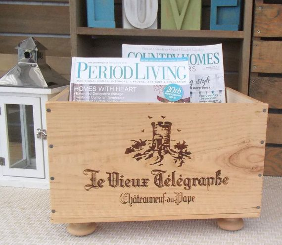 Wooden wine box Magazine rack-French by BaxterandSnowwinebox