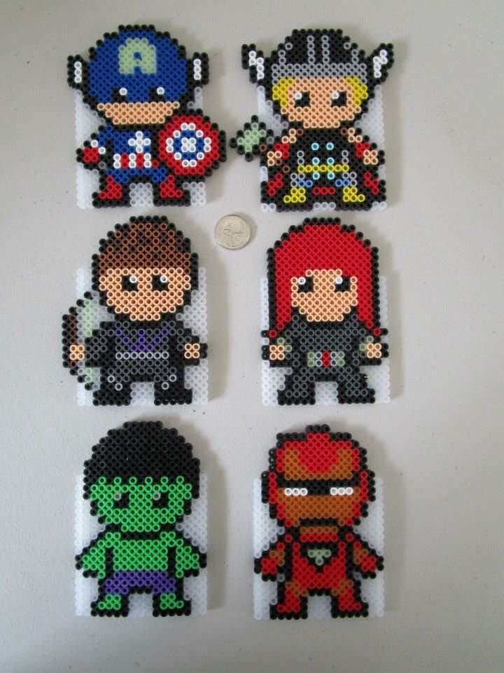 I found patterns for Cap, Thor, Hulk and Iron Man online, but created Hawkeye and Black Widow by eye so those two are original designs.