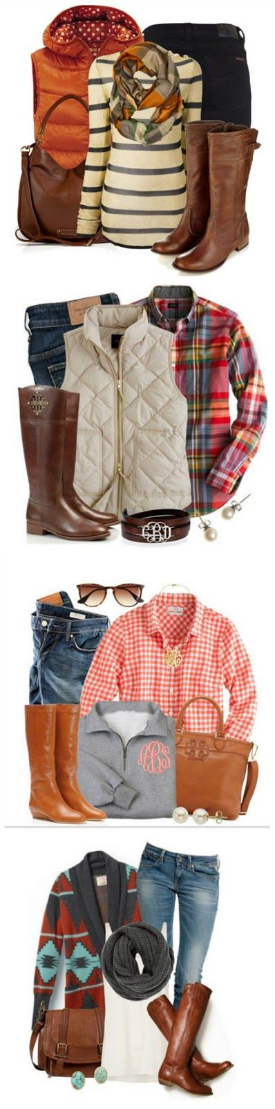 Cozy Fall Fashion-- I love all these Fall Outfits! Brown boots Aztec sweater Puffy vest