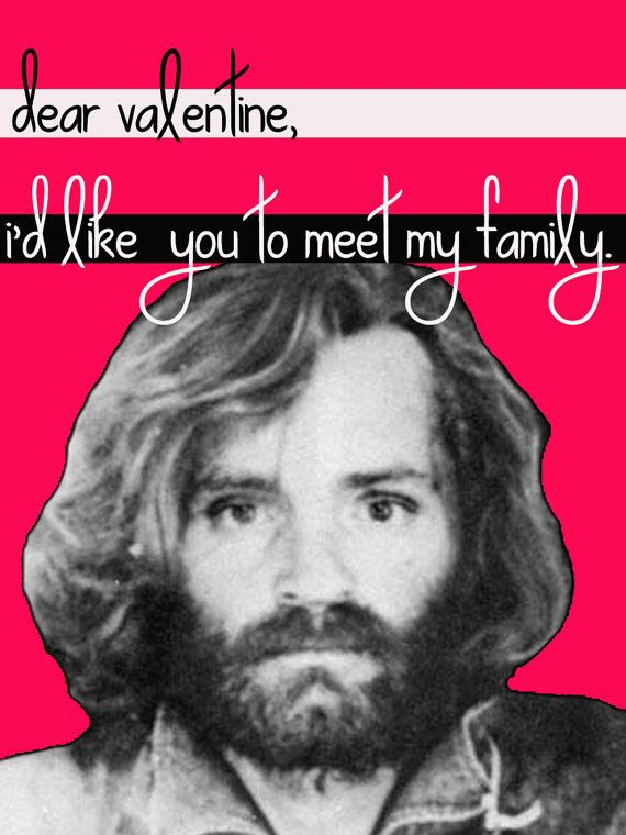Charles Manson Valentine Card by noncomposcards on Etsy