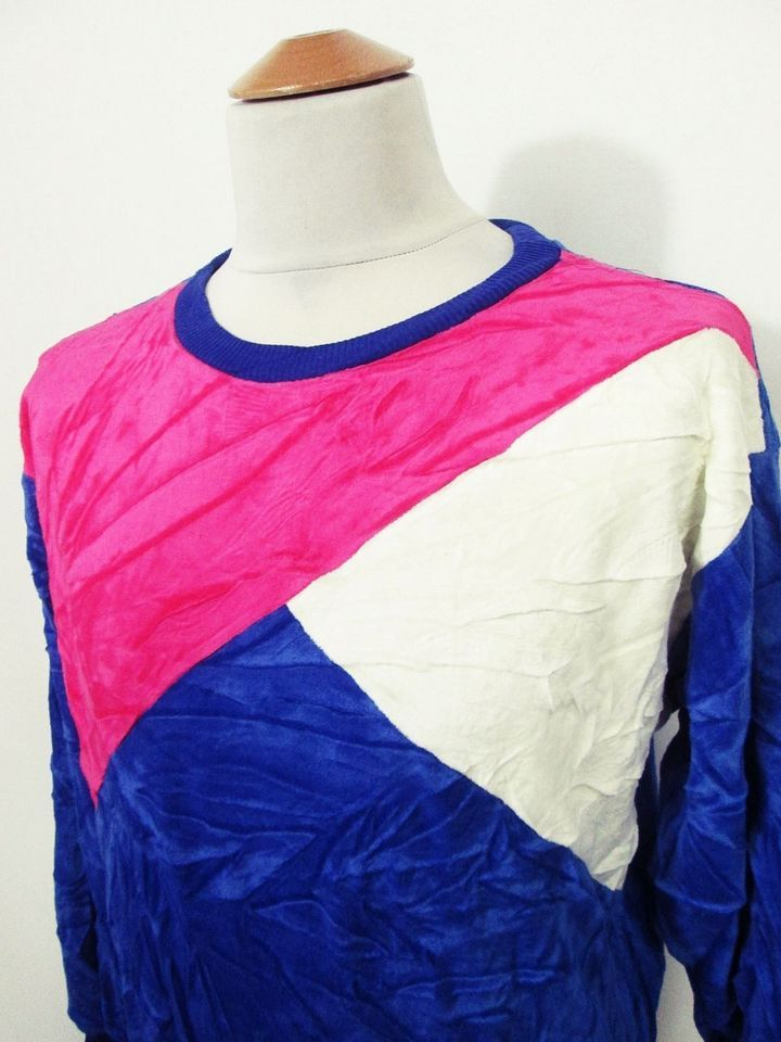 Vintage Velour 90s Indie Hipster Bright Abstract Jumper Sweater S/M