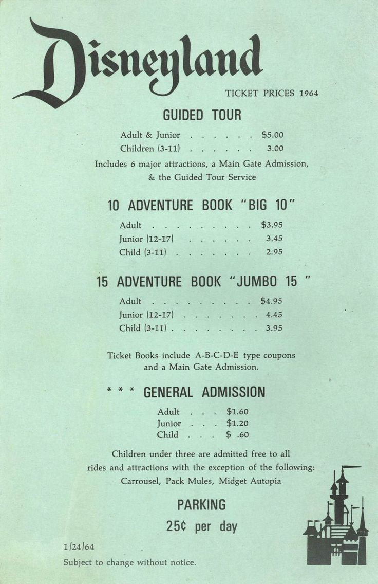 34 vintage photos of Disneyland that will make you want to be a kid again - When Disneyland first opened, it charged an entrance fee and an additional fee per ride. Starting in 1956, guests could instead purchase a booklet of tickets for different attractions. The prices pictured are from 1964. Source: USA Today