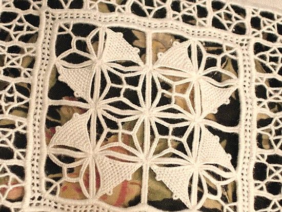 Antique Italian Linen  Embroidered Sheet Shams Set ~ detail of needlelace panel ~ sold by Em's Heart Antique Linens