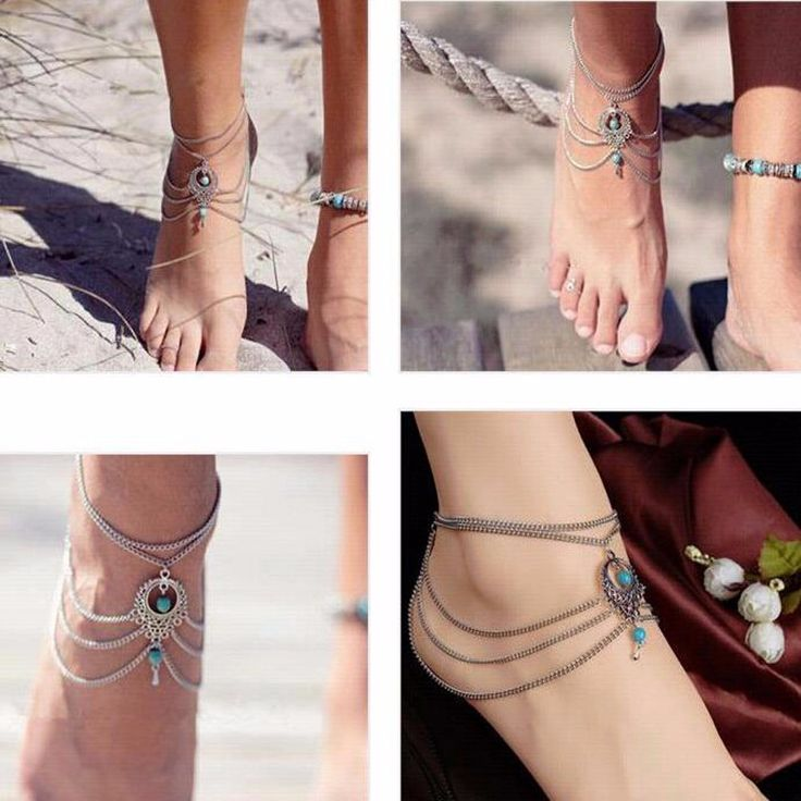 Boho Ethnic Turquoise Beads Anklet Chic Tassel Foot Chain Ankle Bracelet Body Jewelry Anklets For Women Free Shipping