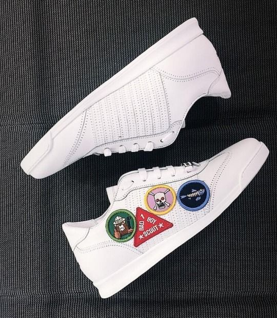 White patch sneakers in leather by Dsquared2.