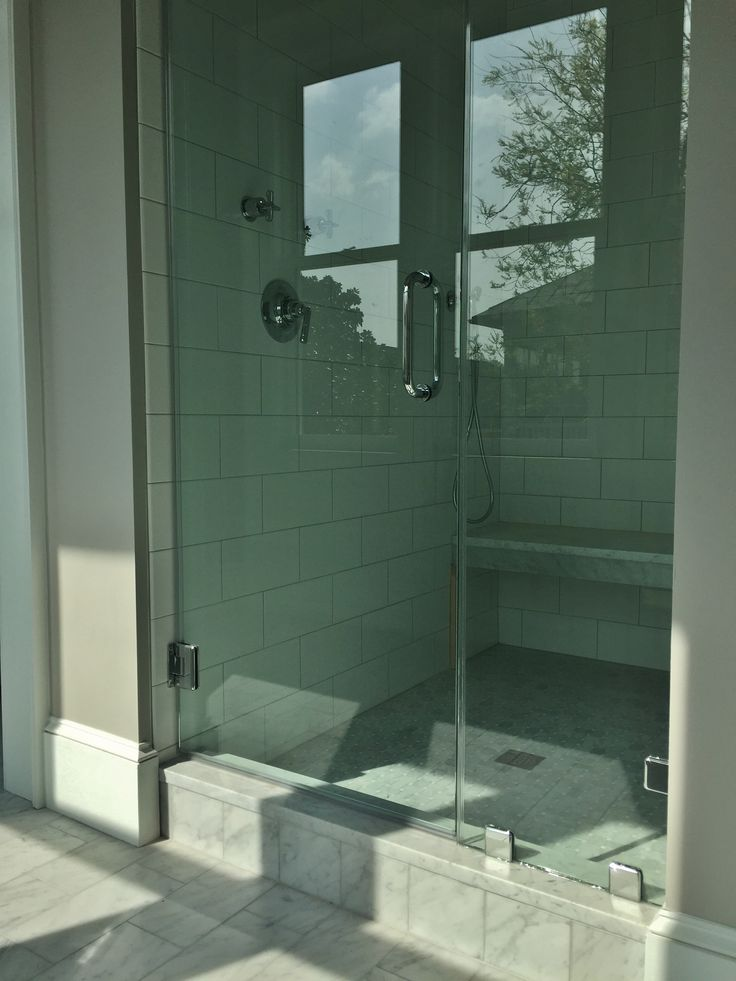Master Shower 6x12 White Subway Tile With 6x12 Carrara