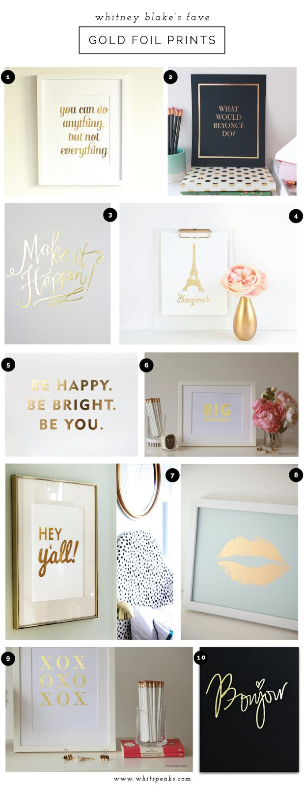 Our Bonjour print featured on Gold Foil Art Print Love // Whitney Blake