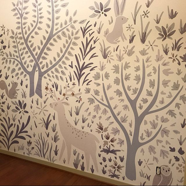 Ferns On White Removable Wallpaper 504 Etsy Forest Wall Mural Wall Murals Tree Removable Wallpaper