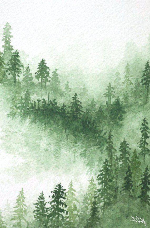 Aquarelle Peinture Originale Arbres En Foret L Automne Hetre
