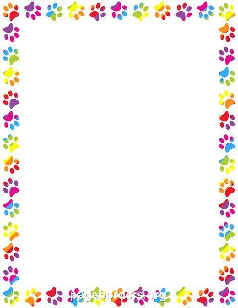 Rainbow Paw Print Border | Fundraiser | Page borders ...