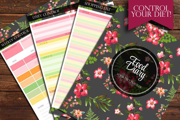 A personal favorite from my Etsy shop https://www.etsy.com/listing/231944493/food-diary-diet-planner-set-4-jpg-files