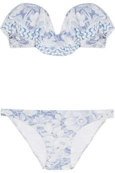 Zimmermann Confetti printed bandeau bikini  | NET-A-PORTER