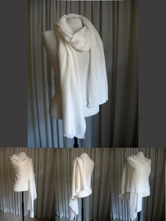Ivory wool knit scarf/shawl/wrap, light weight