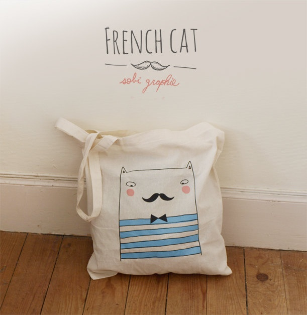 """Tote Bag """"French cat""""."""