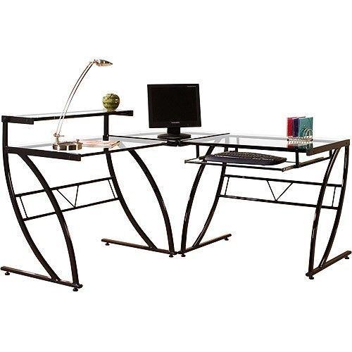 Modern Computer Desk L Shape Home Table Black Sliding Keyboard Tray Glass Office #ModernComputerDesk #Modern