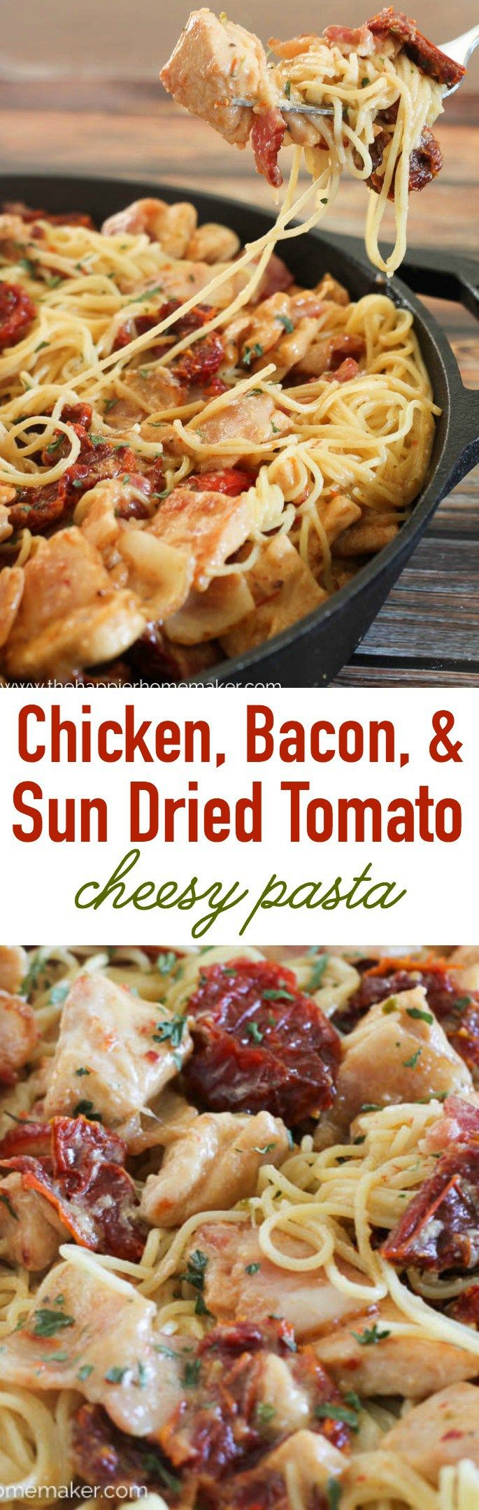 This easy weeknight dinner is full of flavor! Chicken, bacon, and sun dried tomatoes in a cheesy pasta!