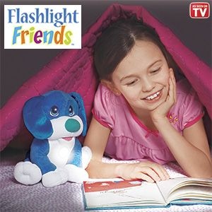 "Product # HC6652 - Huggable, lovable playmates turn on with just a tap! Kids will never feel alone in the dark when this cuddly, plush pal's comforting light is glowing. Cool-to-the-touch flashlight has a 10-minute auto shut-off feature. Great at bedtime; makes a fun reading light too! Requires 3-AAA batteries (not included). Ages 4+. Approx. 9""H.   $27.98"