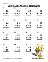 double digit addition with regrouping worksheet addition worksheets. Black Bedroom Furniture Sets. Home Design Ideas