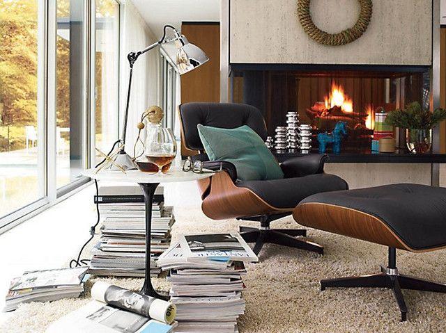 herman miller eames lounge chair replica walnut choco brown aniline lounge - Eames Lounge Chair And Ottoman