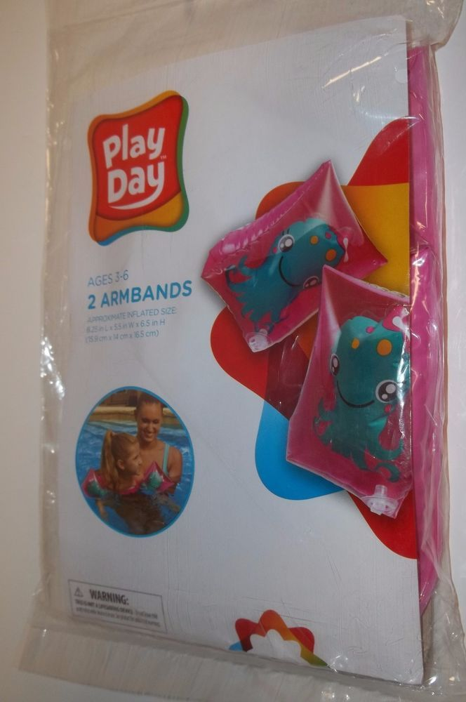 Play Day SHARK OCTOPUS Swim Armbands Water Wings Floaties Inflatable Set of 2 #PlayDay