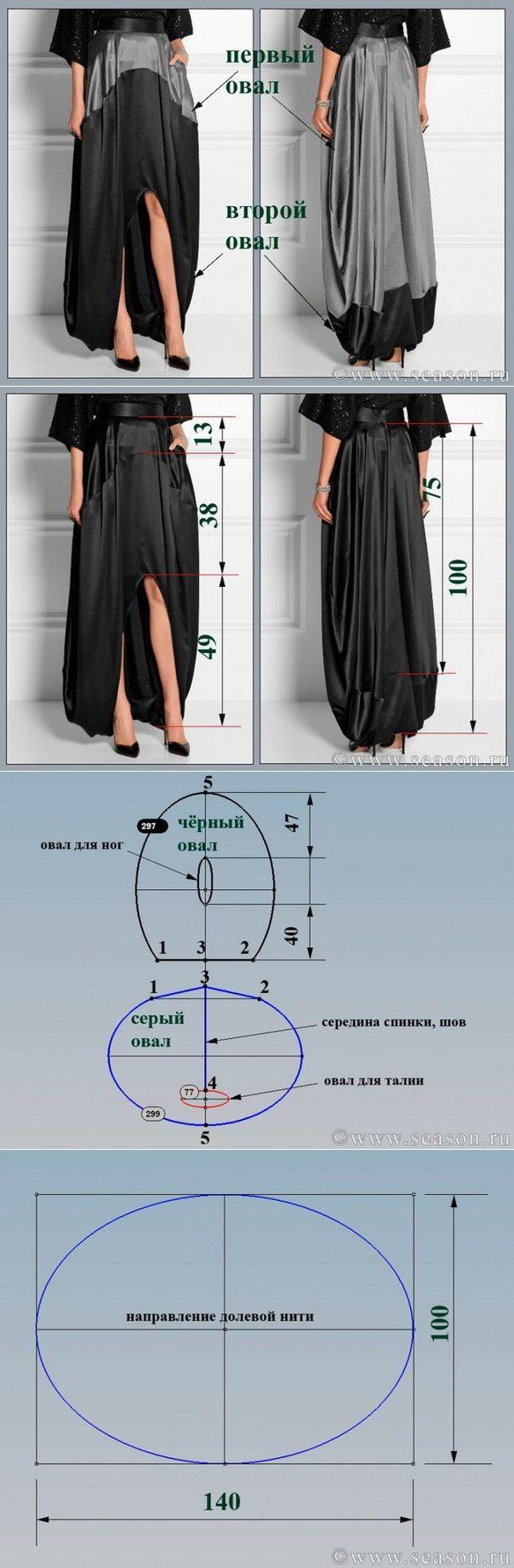 Ателье дизайнерской одежды: шитье, крой, вязание.Юбка-кокон из двух овалов от Oscar de la Renta.
