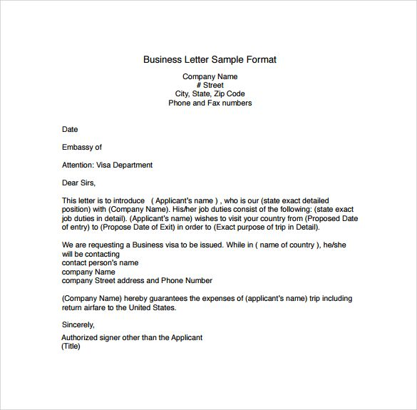 business letter writing format example