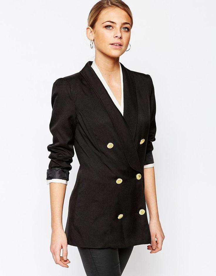 Juodas švarkas | Boohoo | Double Breasted Blazer - Black - ASOS.com | ShopSpy.lt