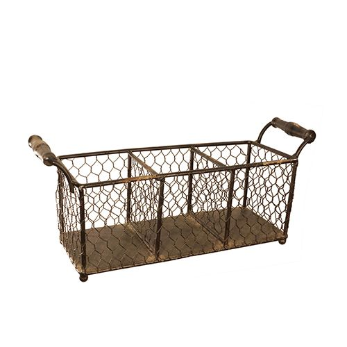 Superb Chicken Wire Basket With Three Compartments And Wood Handles. Product:  BasketConstruction Material: Chicken Wire And WoodColor: BrownFeatures:  Three ...