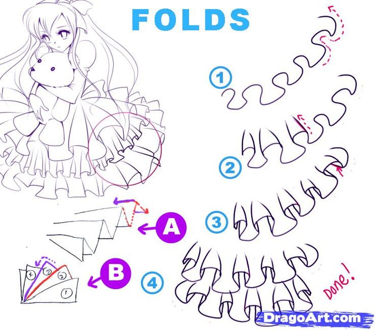 how to draw ruffles | how to draw folds step 6
