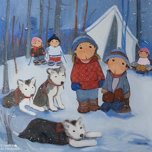 Guylène Saucier, 'Repos pour les chiens', 30'' x 30'' | Galerie d'art - Au P'tit Bonheur - Art Gallery