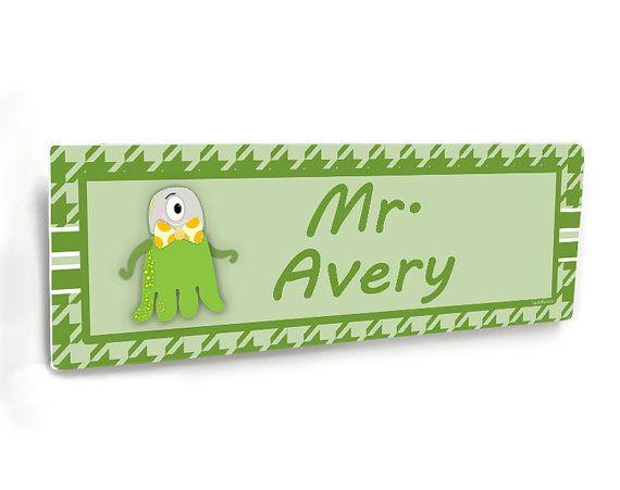 male teacher class door name plate green houndstooth with cute monster office entrance flat door plaque nm10