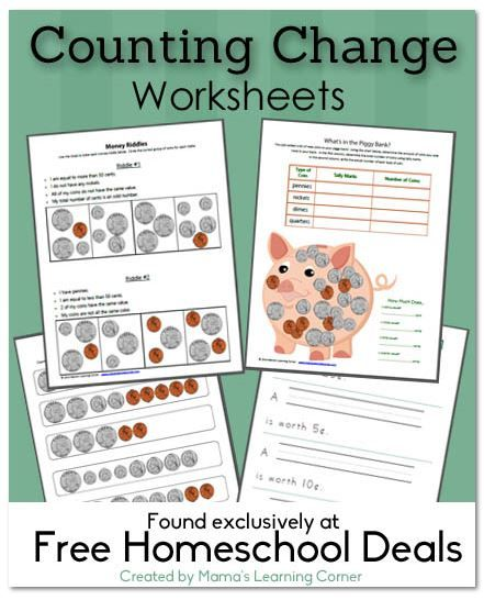 Free 4-page set of counting change worksheets - for K-2nd Graders