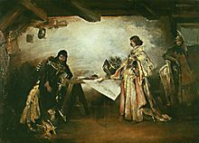 George of Poděbrady and Matthias Corvinus—a painting by Mikoláš Aleš. With George on the right and Matthias on the left, looking unimpressed