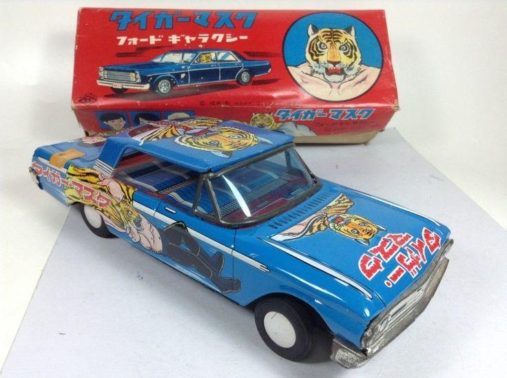 Tiger Mask Tin Toy Ford Galaxy Car Takatoku by Naoki Tsuji Vintage JAPAN 1034 #Takatoku