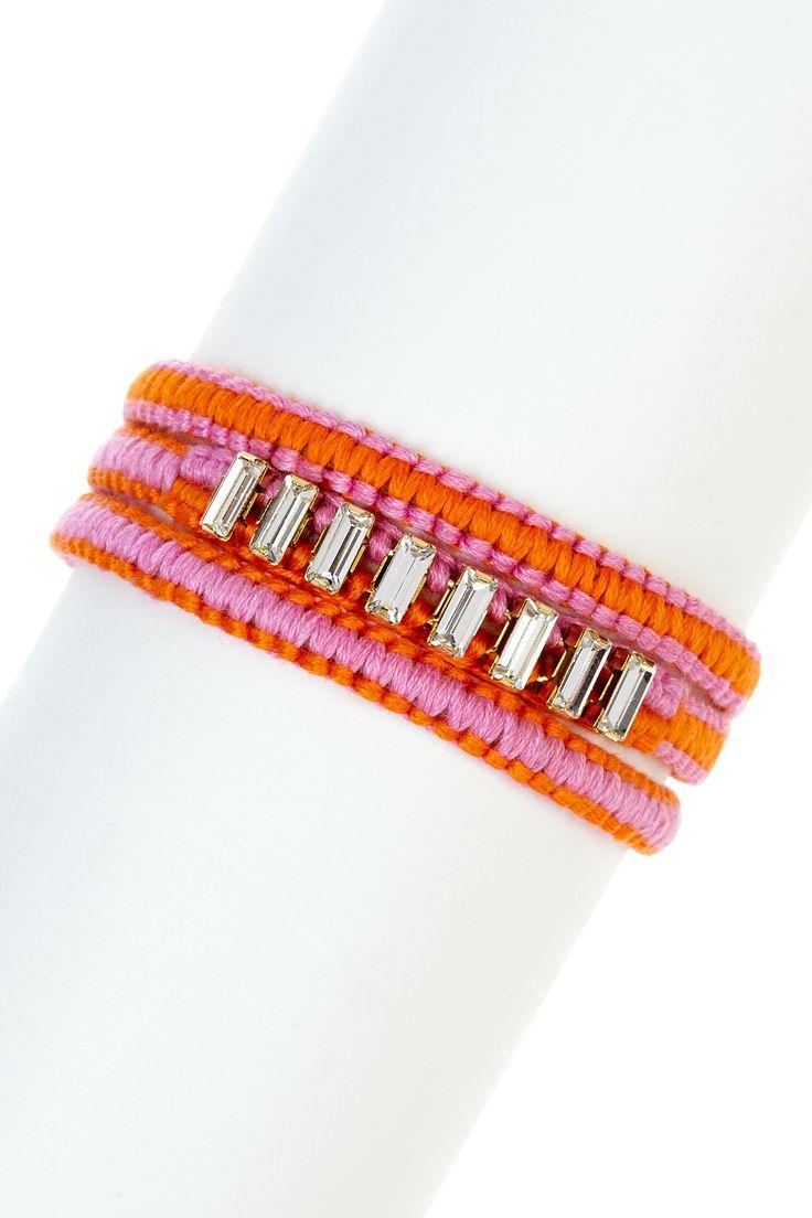 Chan Luu Baguette Rhinestone Wrap Bracelet