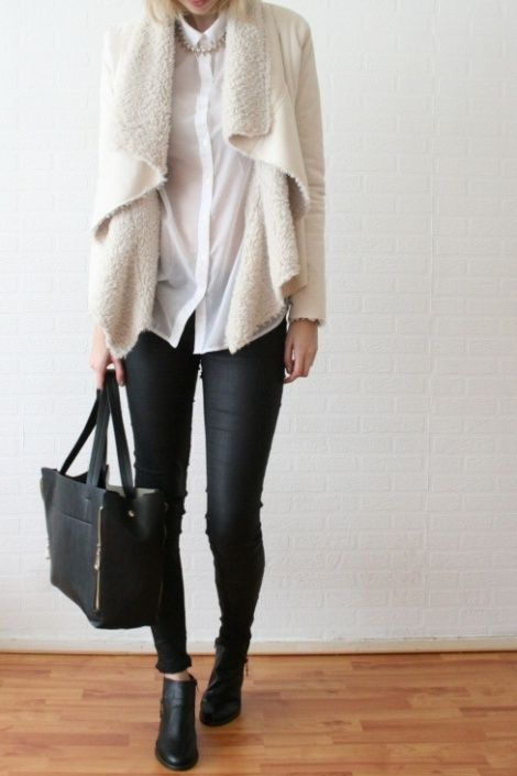 Shearling Coat, Skinnies, and Booties. Now put a bright brooch on the coat and your personal statement is ready