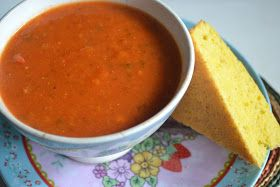 boeddhamum glutenfree: Paprika zoete aardappel linzensoep met maïsbrood– red peppers sweet potato lentil soup with corn bread(GF-DF-SF-V)