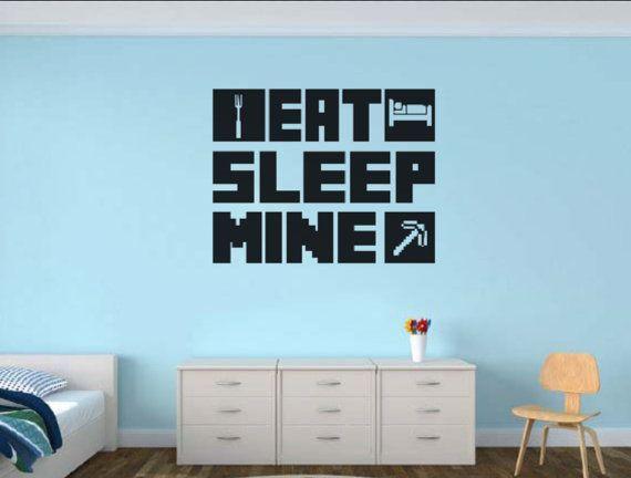 EAT SLEEP MINE Gamer wall decal  Gamer Room by WordFactoryDesign –  – #GamerRoom|DIY
