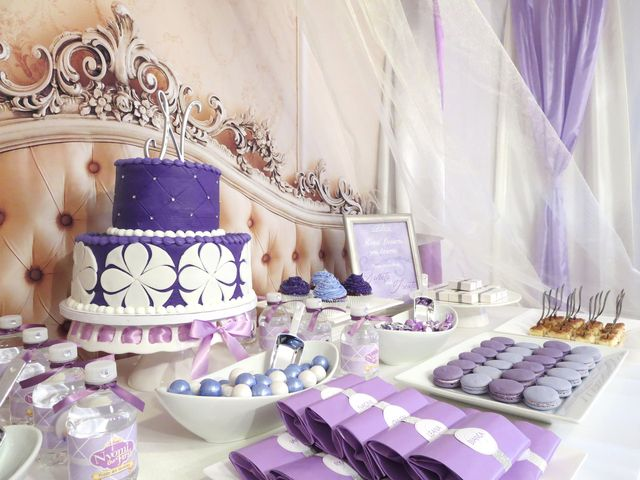 Sofia the First girl birthday party with a purple cake, backdrop and dessert table.  See more party ideas at CatchMyParty.com!