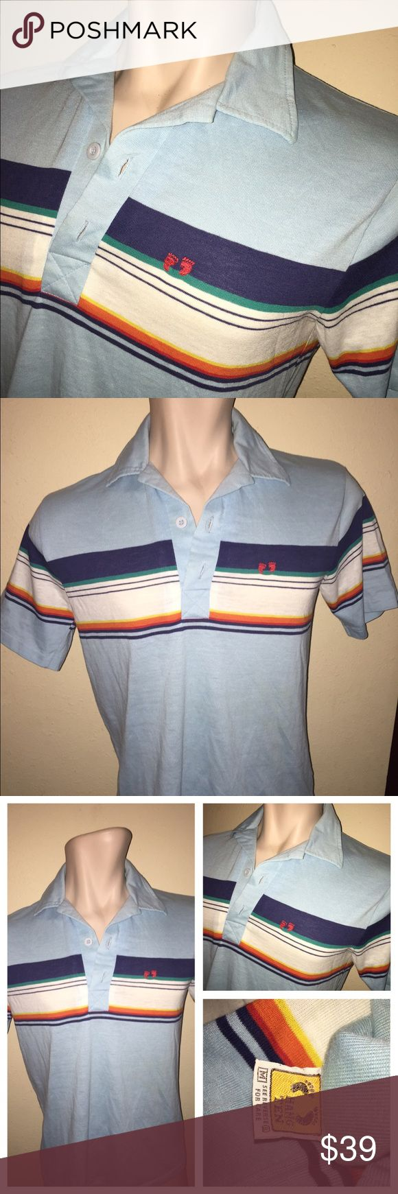 Vintage 70's HANG TEN Surfer Striped Polo Shirt M Up for purchase is a vintage Hang Ten striped shirt.  I'm guessing from the early 80s or late 70s. Classic logo is embroidered in Red thread; has sewn label on the lower left side;  stripes extend all the way around the back. Medium - it measures at 19 inches across the chest between the bottom of the armhole seams and will probably fit between a M and S; length is  25 inches from where the collar tag is sewn onto the collar to the bottom…