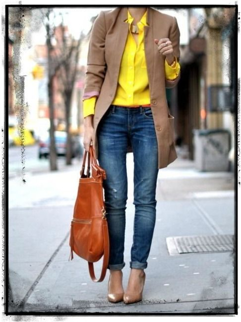 STYLE SENSE A flirty yellow against camel is gorgeous! Don't be afraid to add some colour into your everyday looks. You can always tone them down with neutrals. http://bit.ly/1s6inQU
