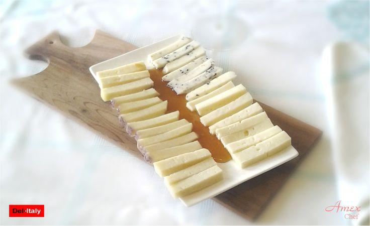 Potpourri di formaggi, Pecorino Briaco, Caciotta con Tartufo, Asiago dop e Bra dop accompagnati da Miele di Melata dei Colli Euganei